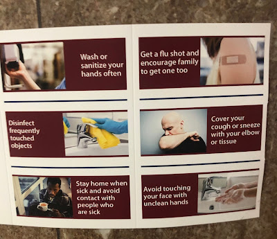 Wash or sanitize your hands often, get a flu shot and encourage family to get one too, disinfect frequently touched objects, cover your cough or sneeze with your elbow or tissue, stay home when sick and avoid contact with people who are sick, avoid touching your face with unclean hands