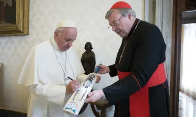 Pope Francis and cricket bat