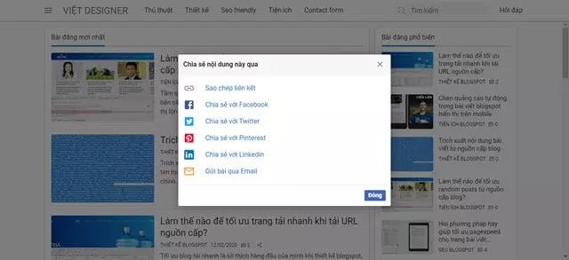 Hướng dẫn thiết kế blogspot căn bản - Tạo nút chia sẻ bài viết