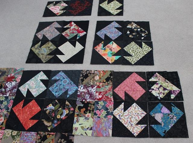 first Kimono block layout idea with 5 inch block sashing
