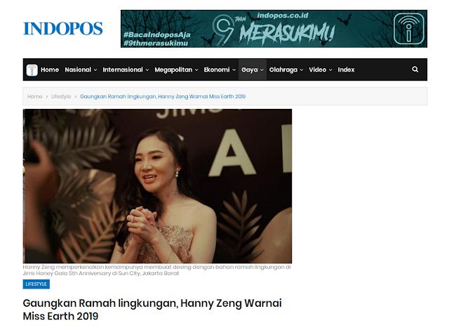 Gaungkan Ramah Lingkungan, Hanny Zeng Warnai Miss Earth 2019