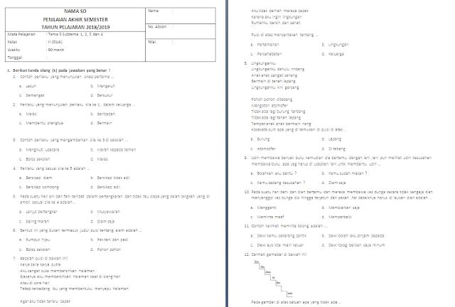 Soal PAS Kelas 2 SD/MI: Tema 5