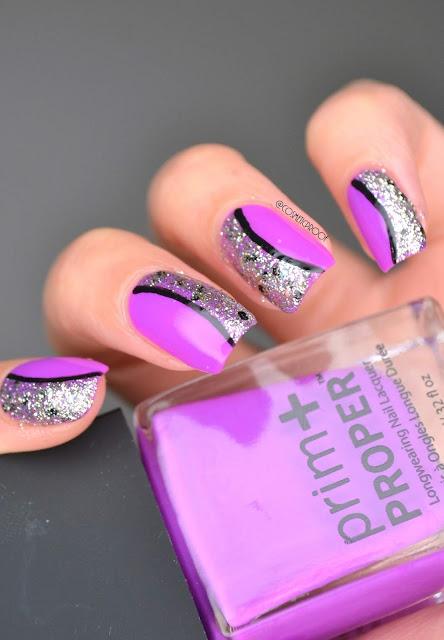 Purple Glitter Crescent Nail Art