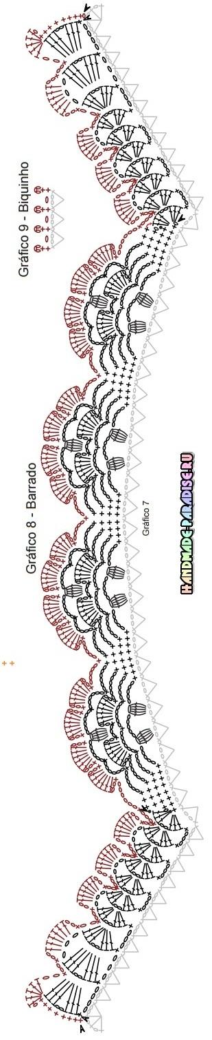 Схема обвязки кухонного полотенца с вязаными рыбками