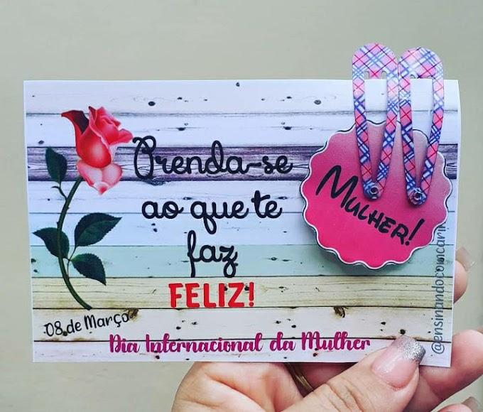 Cartão presilha para o dia internacional da mulher