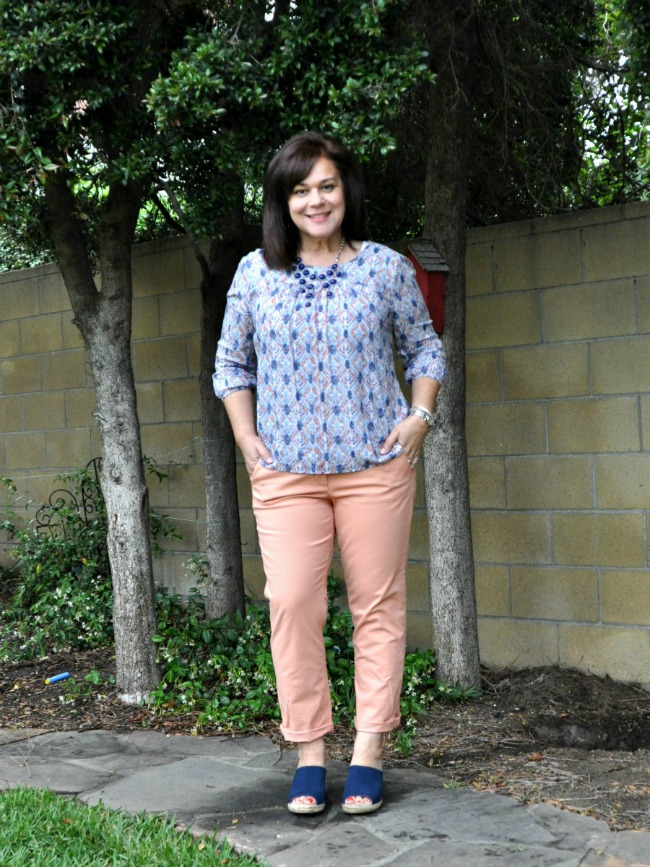 chinos and geometric blouse