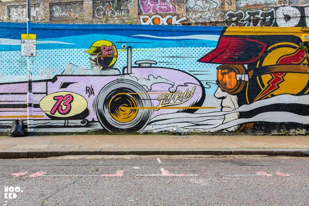Artist D*face - Shoreditch Street Art Mural on Sclater Street