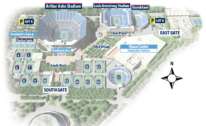 US Open Ticket Compared Ashe Vs Armstrong Vs Grounds Pass - Us open map