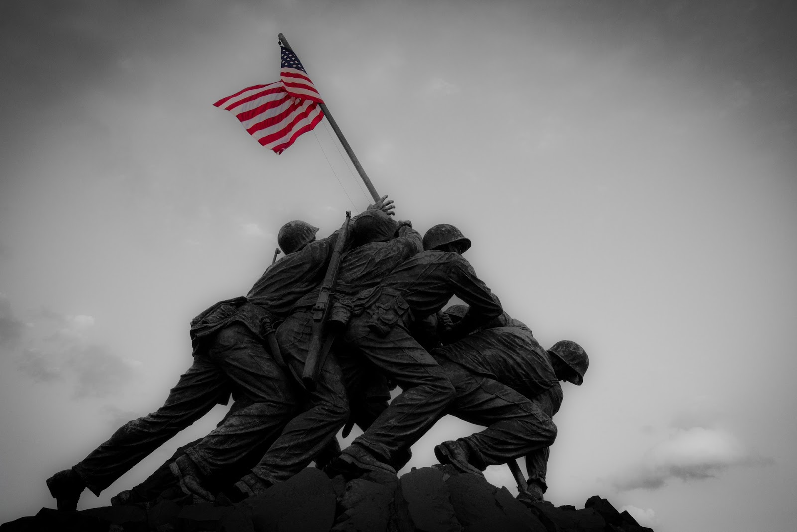 soldiers raising american flag on iwo jima to illustrate blog post about the anniversary of VJ-Day and mini-series the Pacific