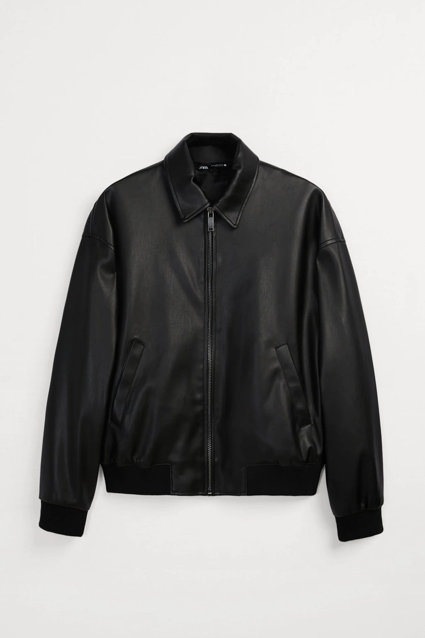 Faux leather bomber jacket, by Zara