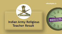 Indian Army Religious Teacher Result