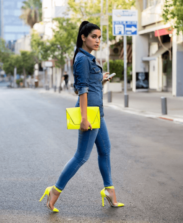 Suggest a beautiful combination with brilliant neon colors in summer sun