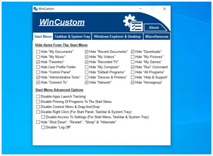 WinCustom : Δωρεάν εφαρμογή παραμετροποίησης λειτουργιών των windows