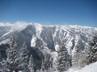 The view of Aspen Highlands from the top of Aspen Mountain.