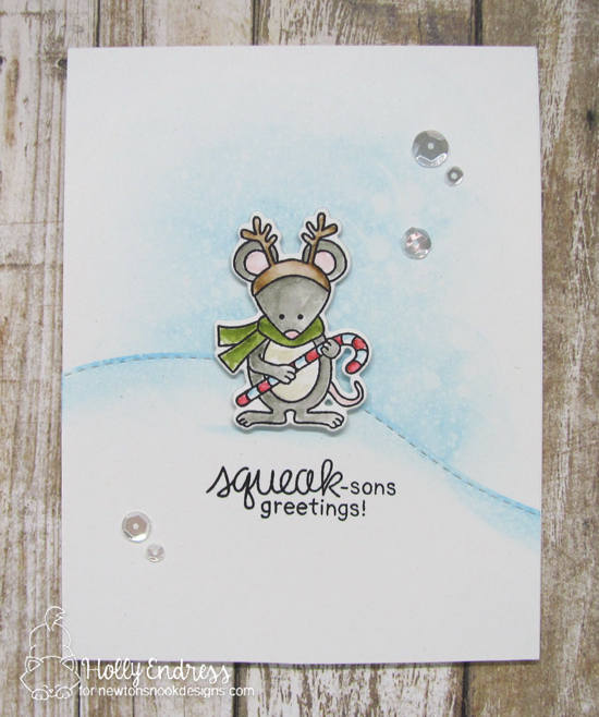 Christmas Mice Card by Holly Endress | Naughty or Mice Stamp Set by Newton's Nook Designs #newtonsnook #handmade