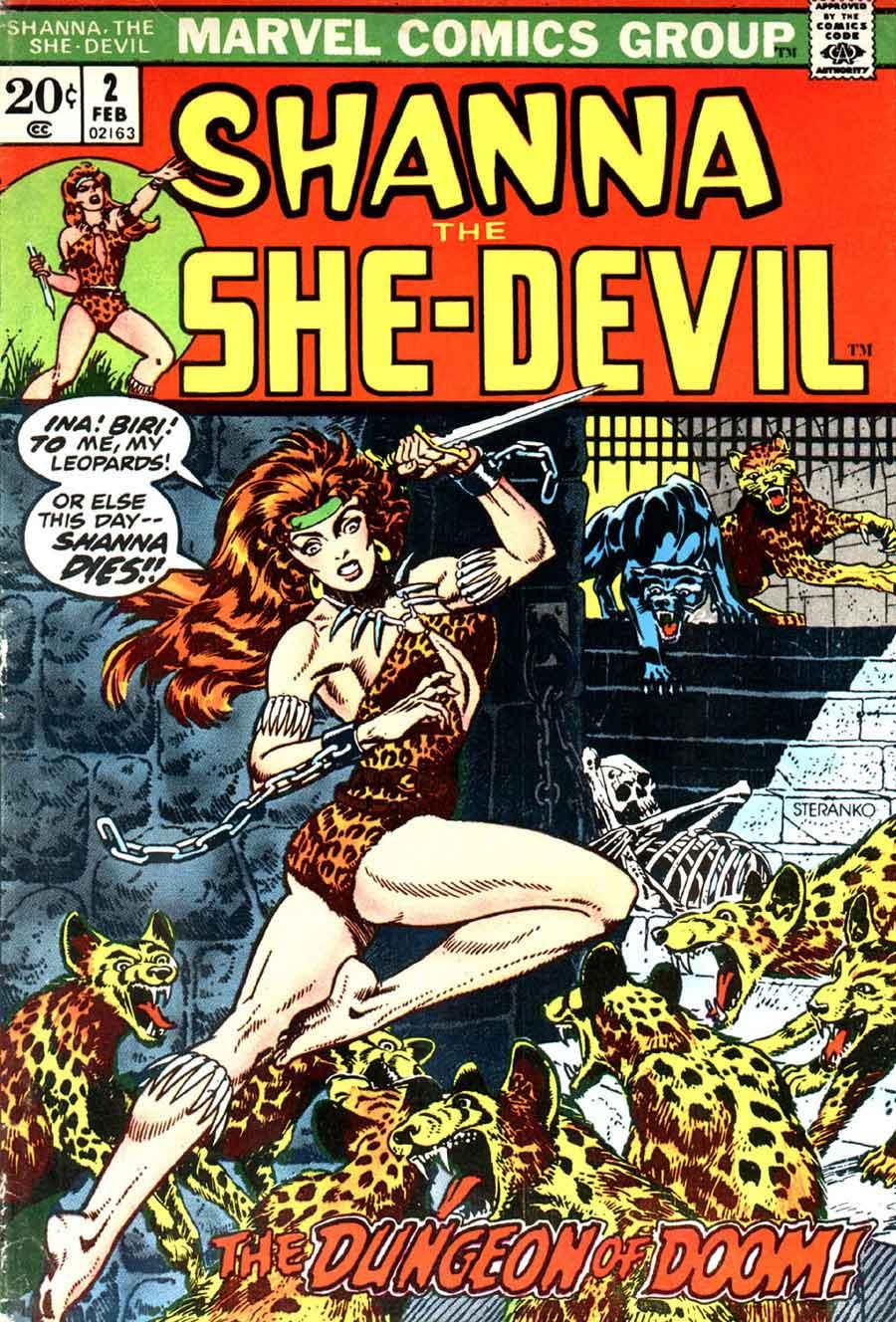 Shanna the She-Devil v1 #2 marvel 1970s bronze age comic book cover art by Jim Steranko