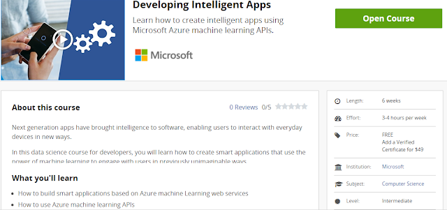 Developing Intelligence Apps Using Machine Learning Course