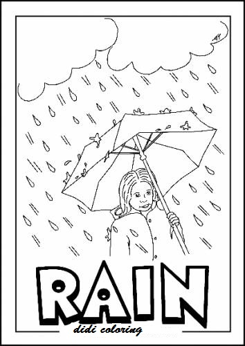 Printable Rainy Weather Coloring Page Girl Standing With Umbrella