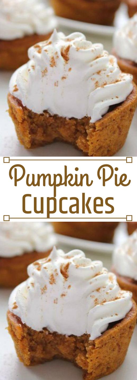 PUMPKIN PIE CUPCAKES #pumpkin #cupcakes #desserts #pie #delicious