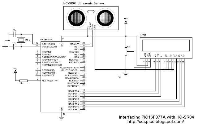 Interfacing PIC16F877A with HC-SR04 ultrasonic sensor circuit