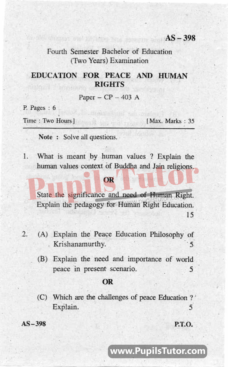 Education For Peace And Human Rights Question Paper In English
