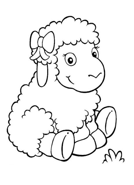 Hình tô màu con cừu đáng yêu