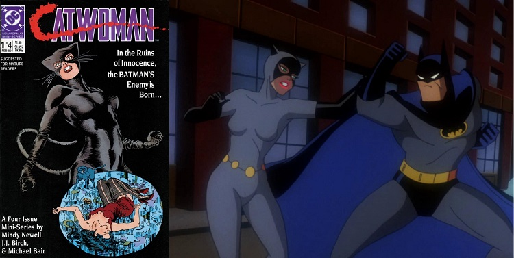 Side by side images show the cover of a Catwoman comic book, with the Cat in snarling pose above an image of a street girl lying in a pool of water, next to an image from an animated show, with Catwoman striking Batman who is in a fighting pose