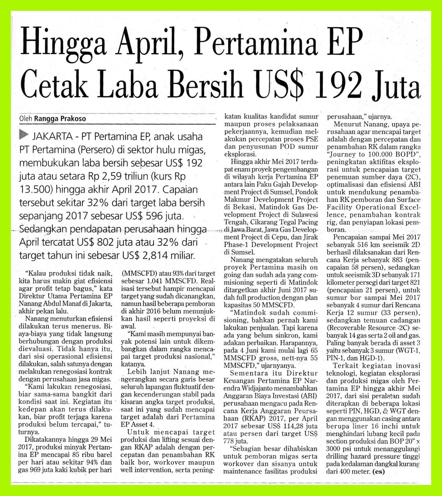 Until April, Pertamina EP Prints Net Profit of US $ 192 Million