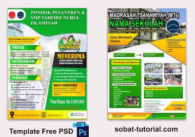 2 Contoh Pamflet PSB Pondok Pesantren Free Psd