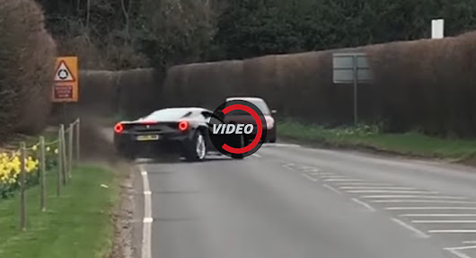Ferrari 488 Almost Does A Ford Mustang Leaving UK Car Meet