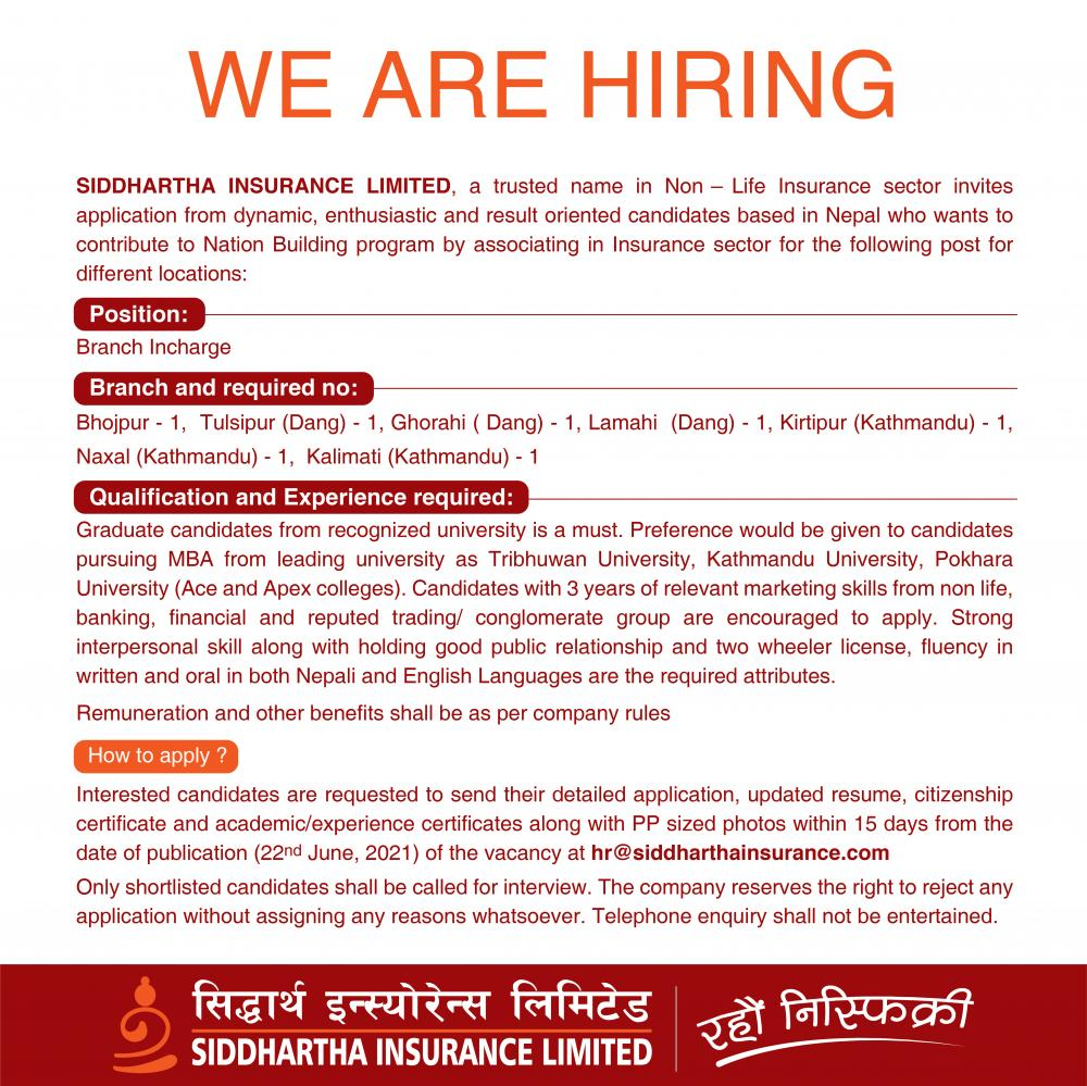 Siddhartha Insurance Limited Job Vacancy for Branch Incharge