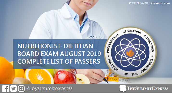 FULL RESULTS: August 2019 Nutritionist Dietitian board exam list of passers, top 10