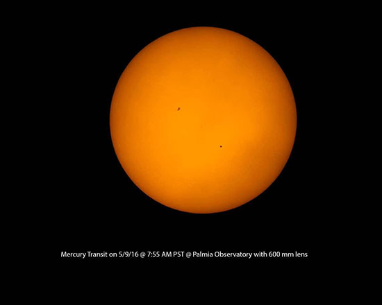 Previous May 9, 2016 transit of mercury, with sunspot (Source: Palmia Observatory)