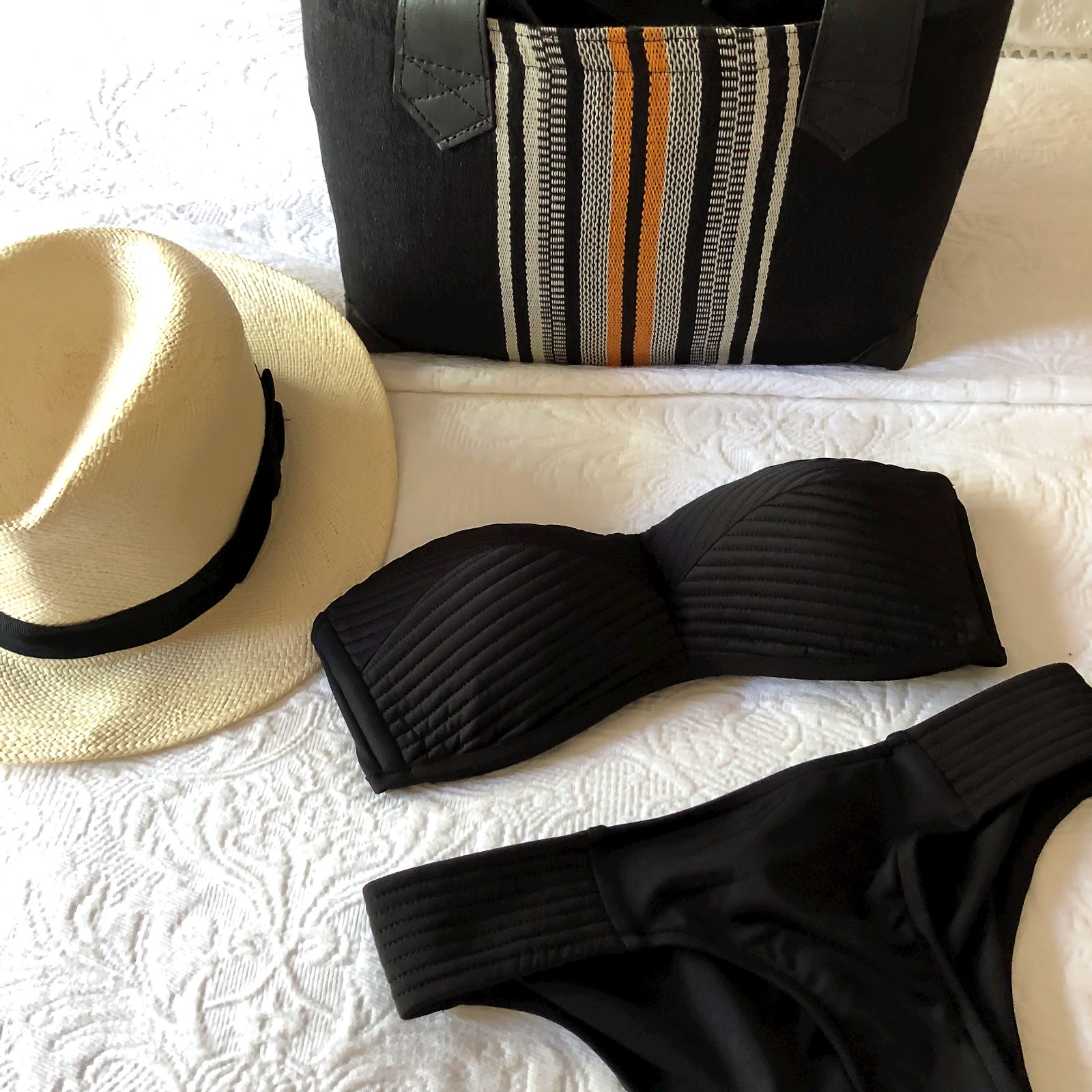 my midlife fashion, coco bay, marks and spencer handwoven panama, ravinala cancun bag, seafolly quilted bustier bikini top, seafolly goddess black pleated hipster pant