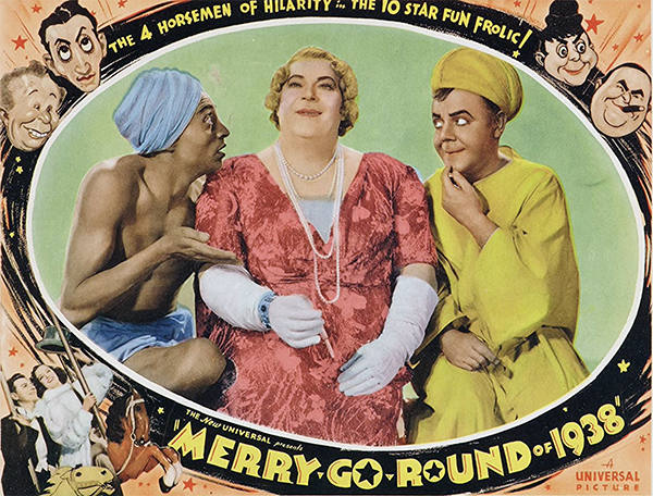 Billy House femulated in the 1937 film Merry-Go-Round of 1938.
