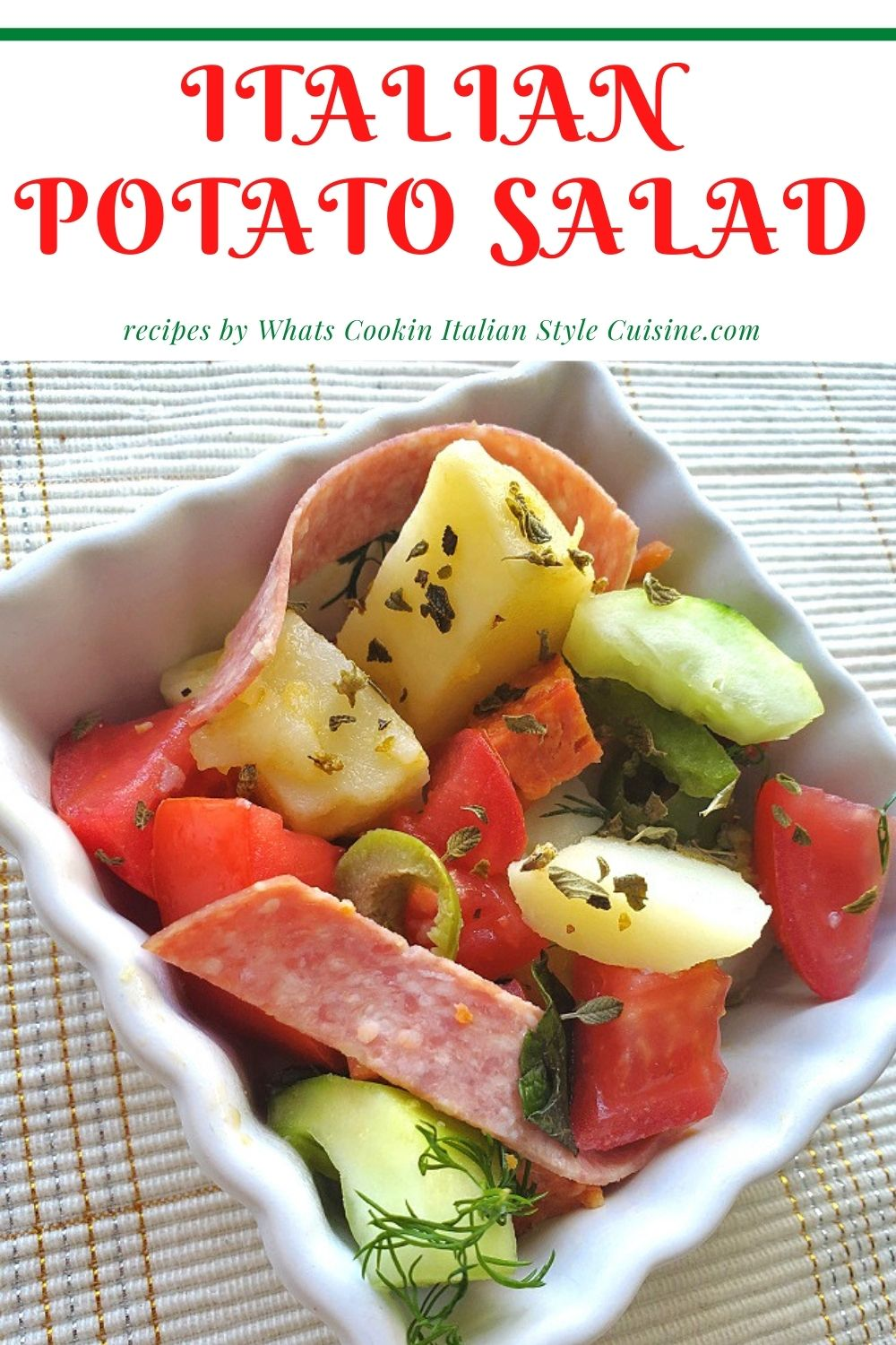 this is a pin for later how to make Italian potato salad no mayonnaise