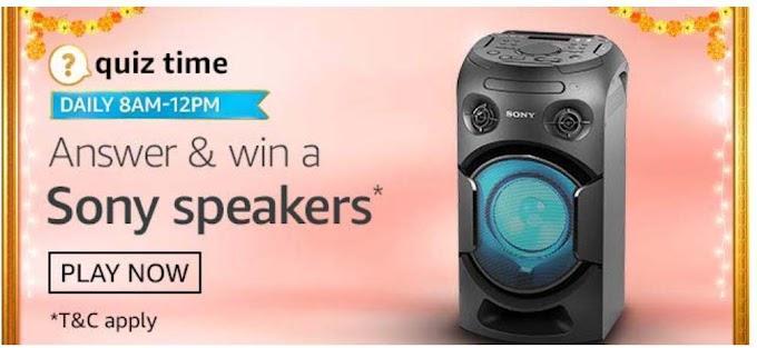 Amazon Quiz 3 October 2020 Answers Win – Sony Speakers