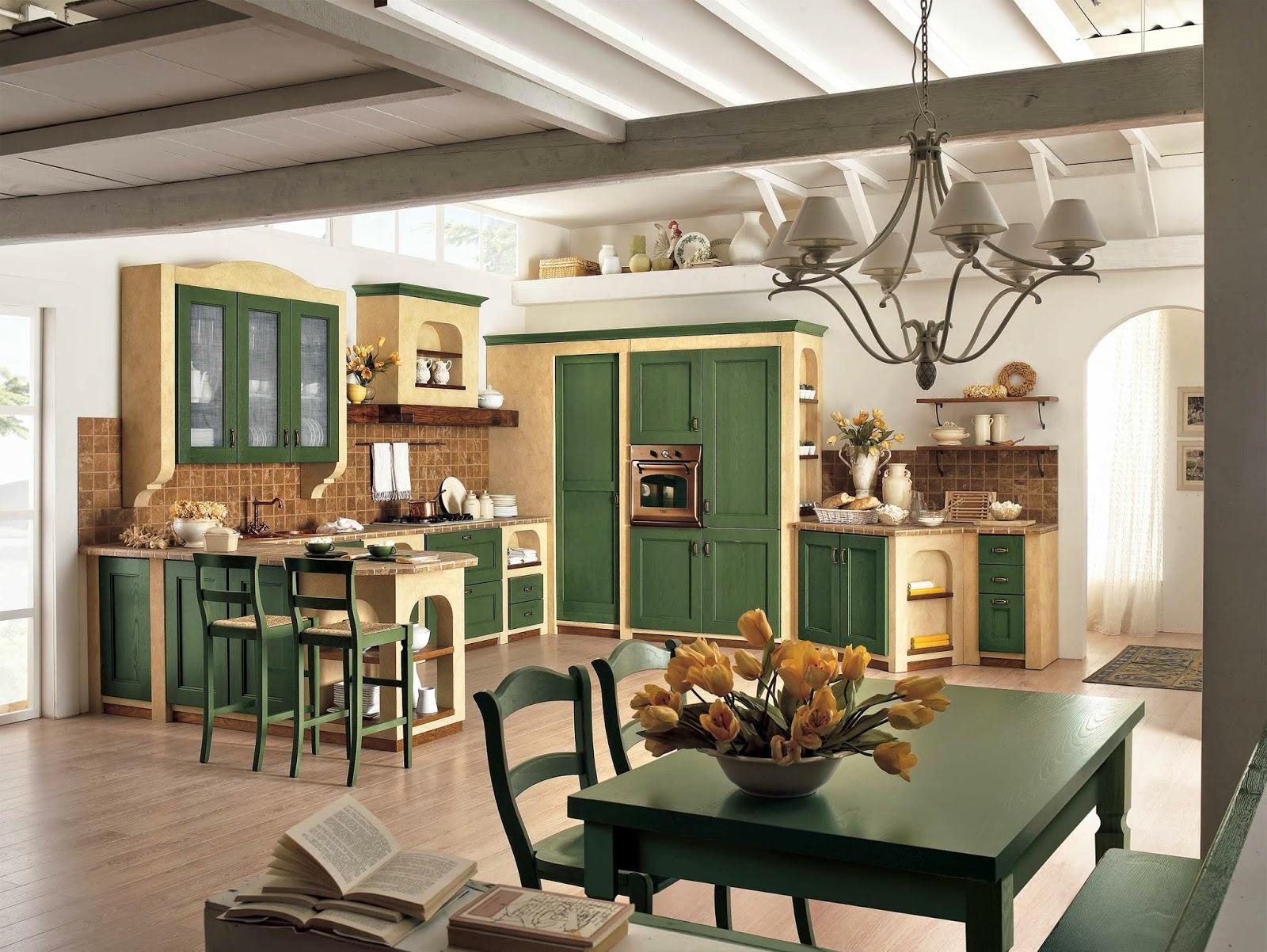 Cucina Country Verde | Domo Clasic Mobila Italiana De Bucatarie