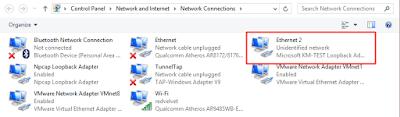 Tampilan loopback adapter pada Network Connection