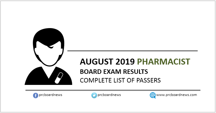 RESULT: August 2019 Pharmacist board exam list of passers