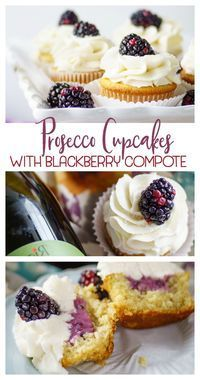Prosecco Cupcakes with Blackberry Compote