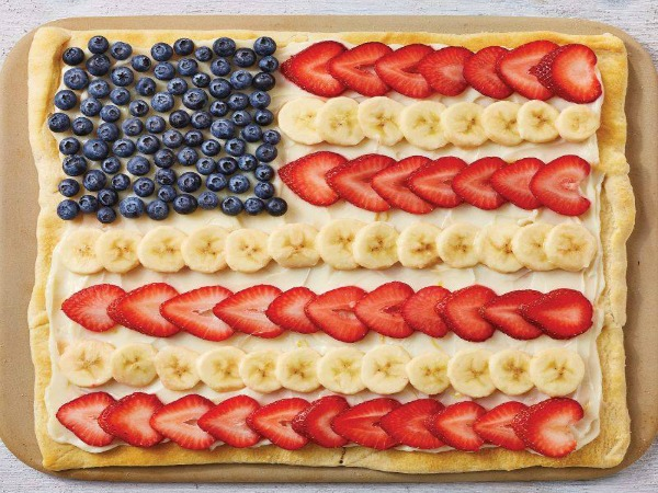 Flag Fruit Sugar Cookie Pizza with Strawberries, Blueberries and Bananas from Walking on Sunshine