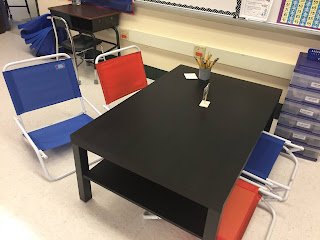 Plastic storage with drawer for paper in flexible seating classroom