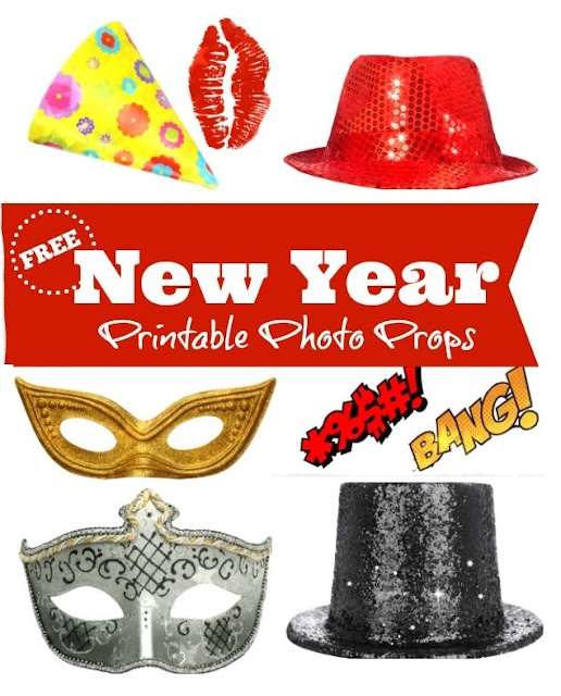 Free Printable Retro Photo Booth Props For New Year´s Party.