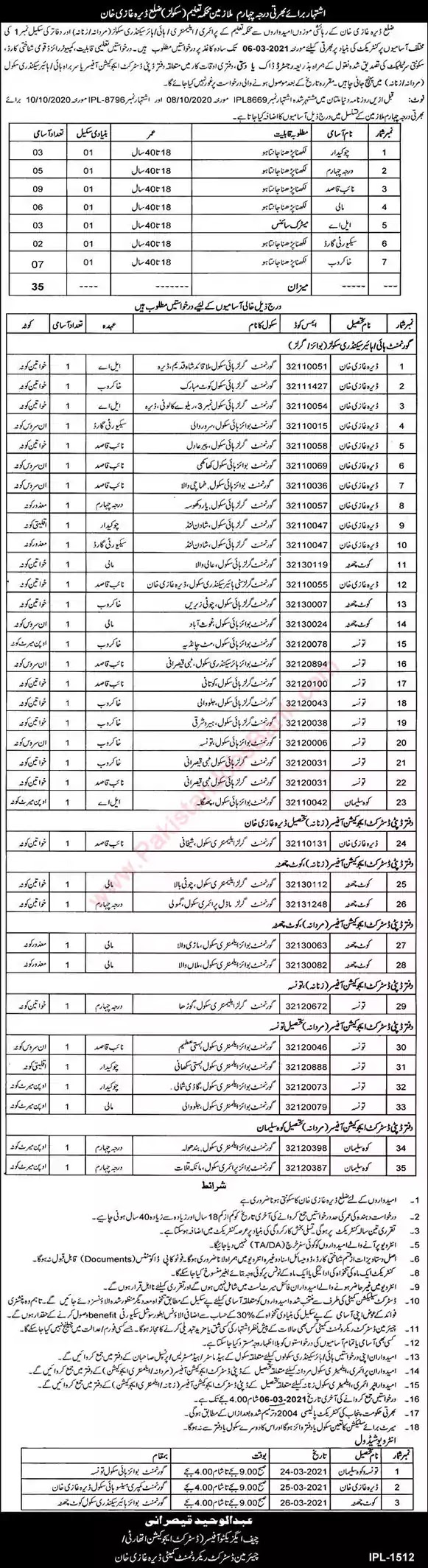 Latest Jobs in Pakistan in School Education Department Dera Ghazi Khan Jobs 2021