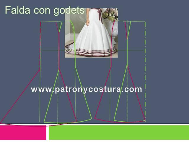 www.patronycostura.com/Falda con godets. Tema 192