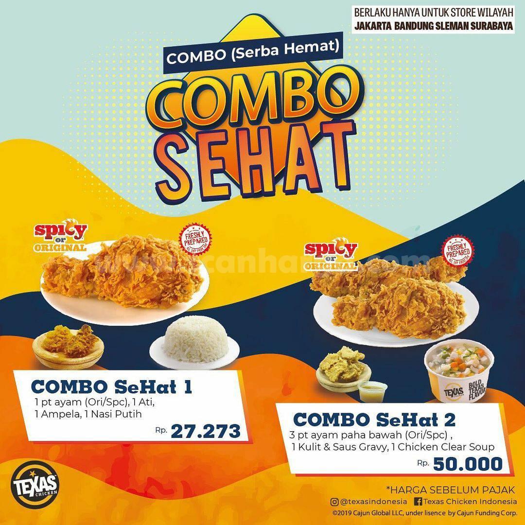 TEXAS CHICKEN Promo COMBO SEHAT (SERBA HEMAT) harga mulai Rp. 27.273