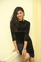 Mounika in a velvet short black dress for Tick Tack Movie Press Meet March 2017 075.JPG