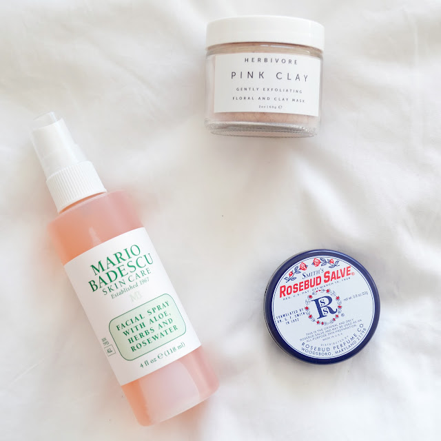Urban Outfitters Beauty haul Mario Badescu facial spray Smith's Rosebud Salve Herbivore Botanicals Pink Clay Mask