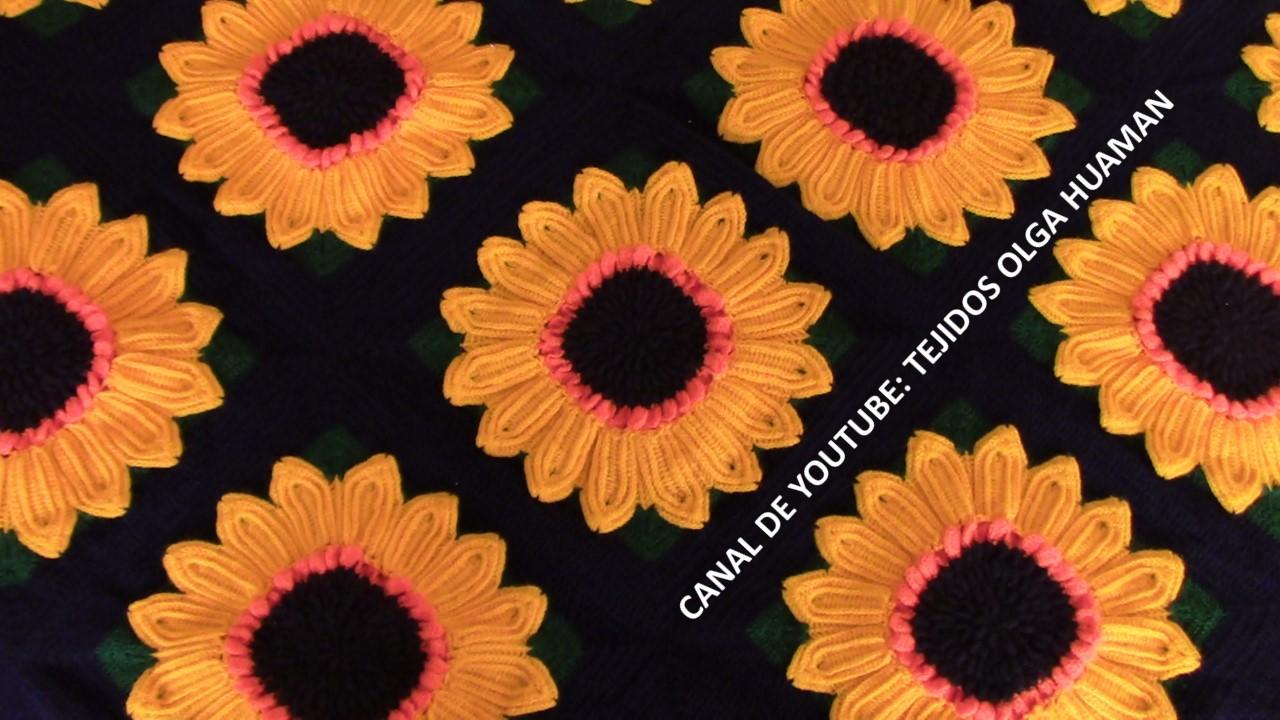 Tejidos olga huaman colcha tejida a crochet de girasoles - Aplicaciones de crochet para colchas ...